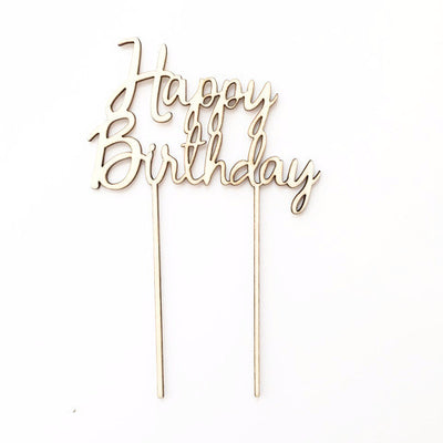 "Birchwood ""Happy Birthday"" Cake Topper, PP-Party Partners - Estelle Gifts, Putti Fine Furnishings"