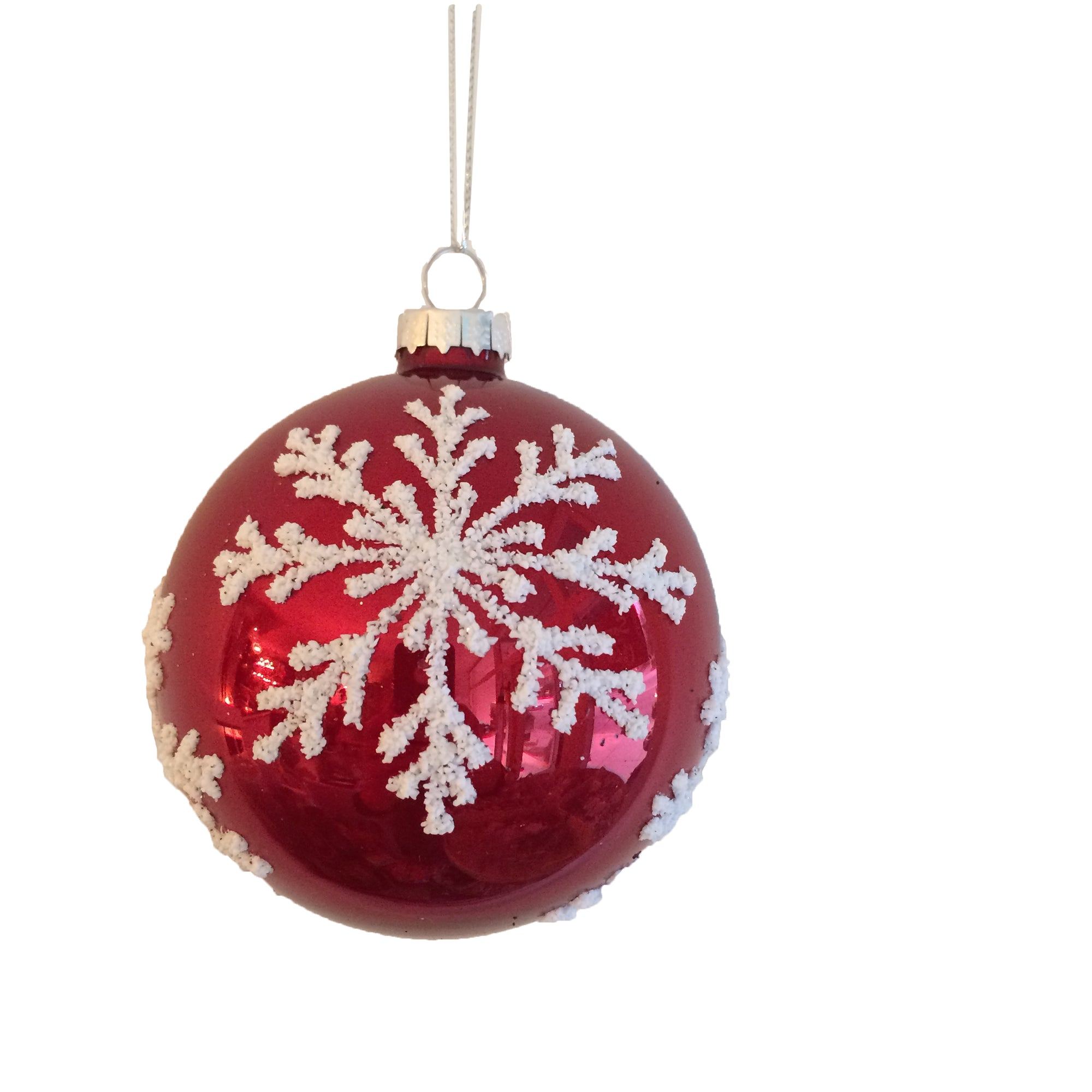 Shinny Red with White Snowflake Glass Ornament  - Ball, CT-Christmas Tradition, Putti Fine Furnishings