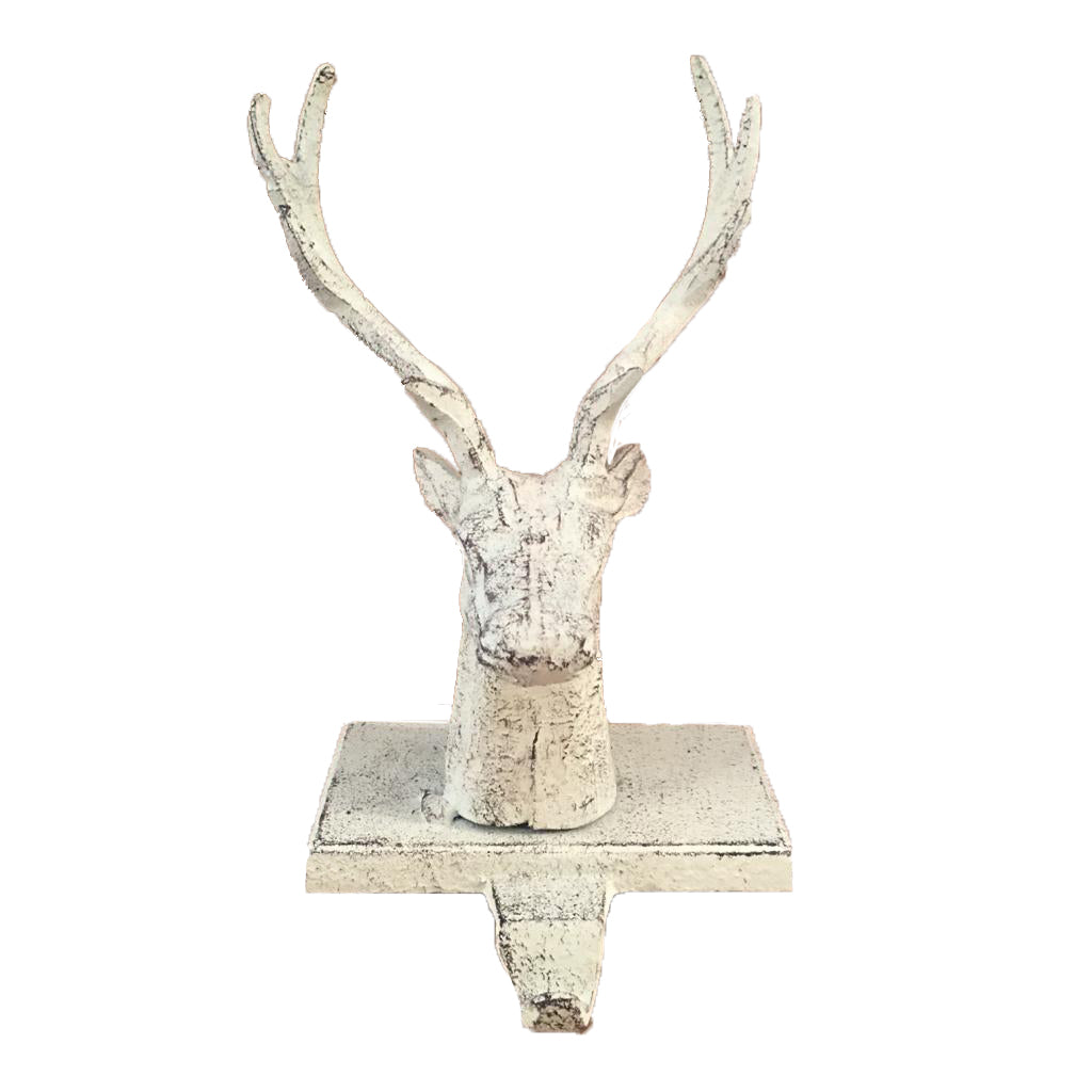 Reindeer SStocking Holder - White. - Putti Christmas Celebrations Canada