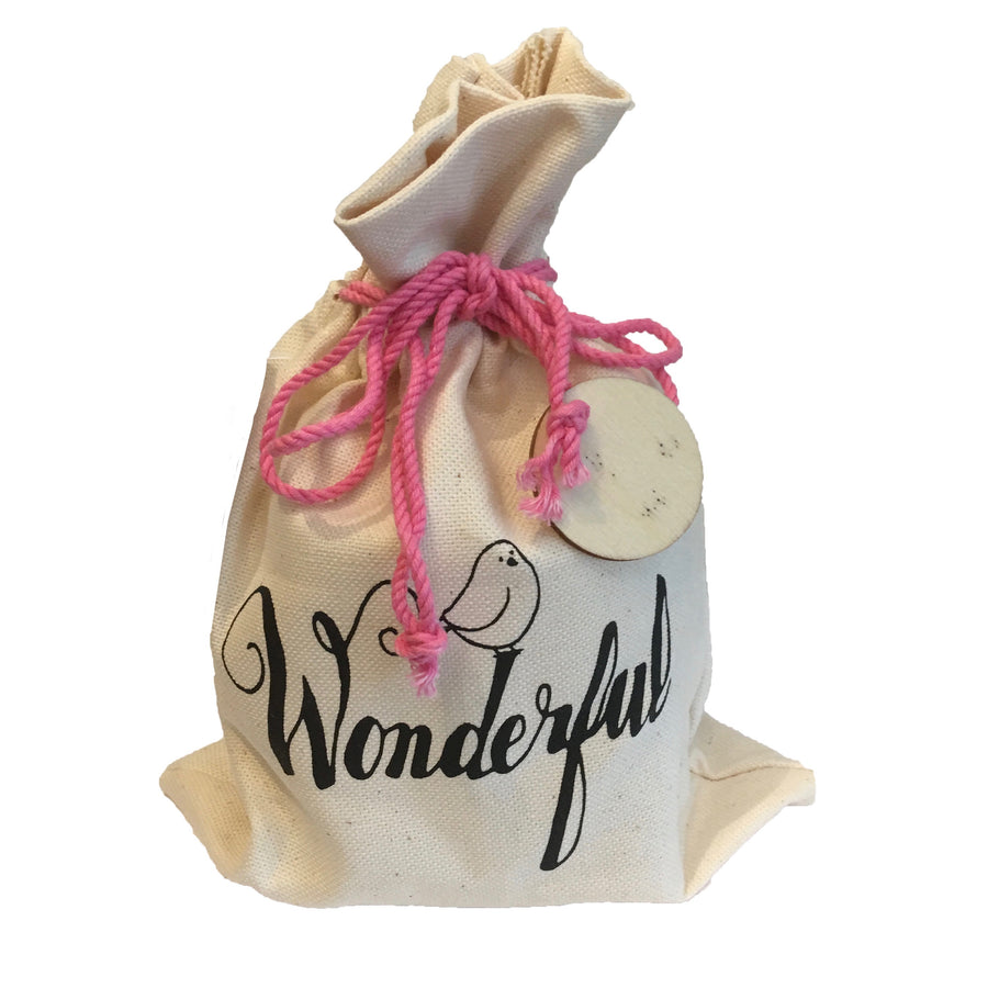"""Wonderful"" - Candle in Drawstring Bag"