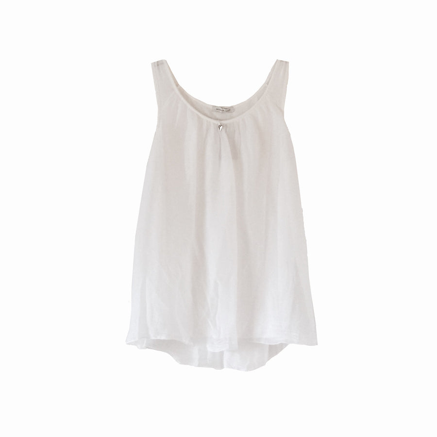 Sleeveless Silver Heart Top - White