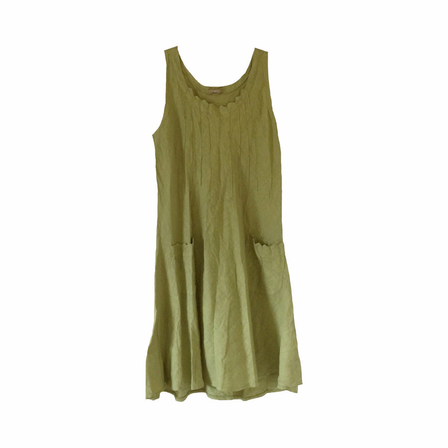 Pleated Linen Dress with Pockets - Lime Green, TO-Terminal One, Putti Fine Furnishings
