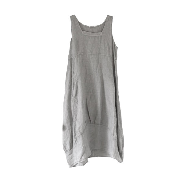 Sleeveless Linen Dress - Grey-Women's Clothing-TO-Terminal One-Putti Fine Furnishings