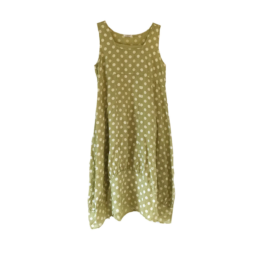 Sleeveless Linen Dress - White Spots on Lime Green, TO-Terminal One, Putti Fine Furnishings