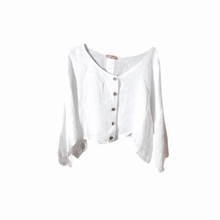 Short Button Front Jacket - White