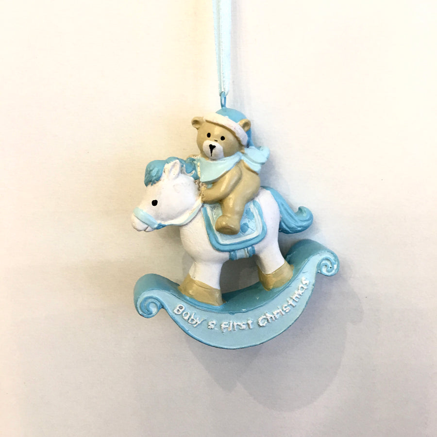 """Baby's First Christmas"" Rocking Horse Ornament - Blue"