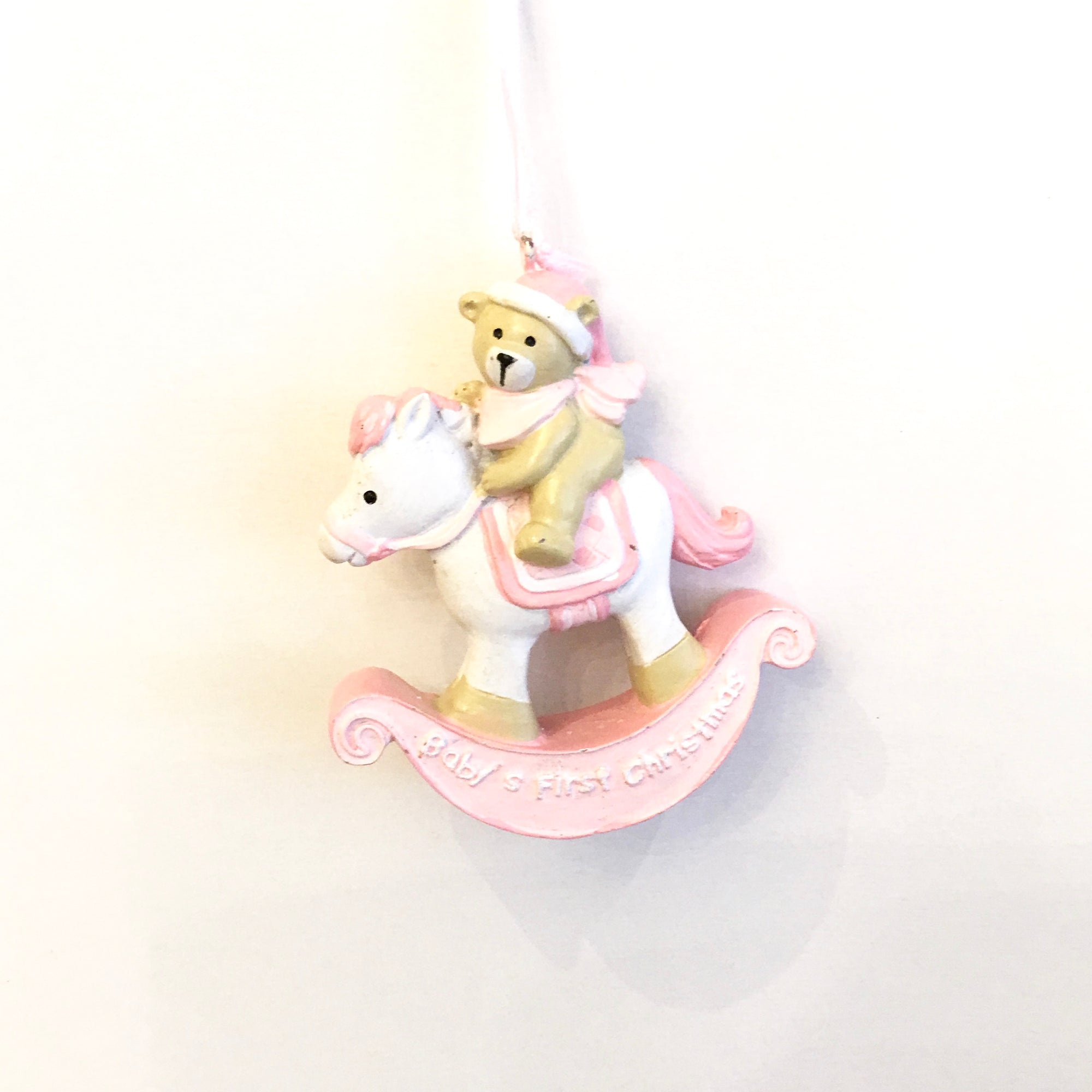 """Baby's First Christmas"" Rocking Horse Ornament - Pink, CT-Christmas Tradition, Putti Fine Furnishings"