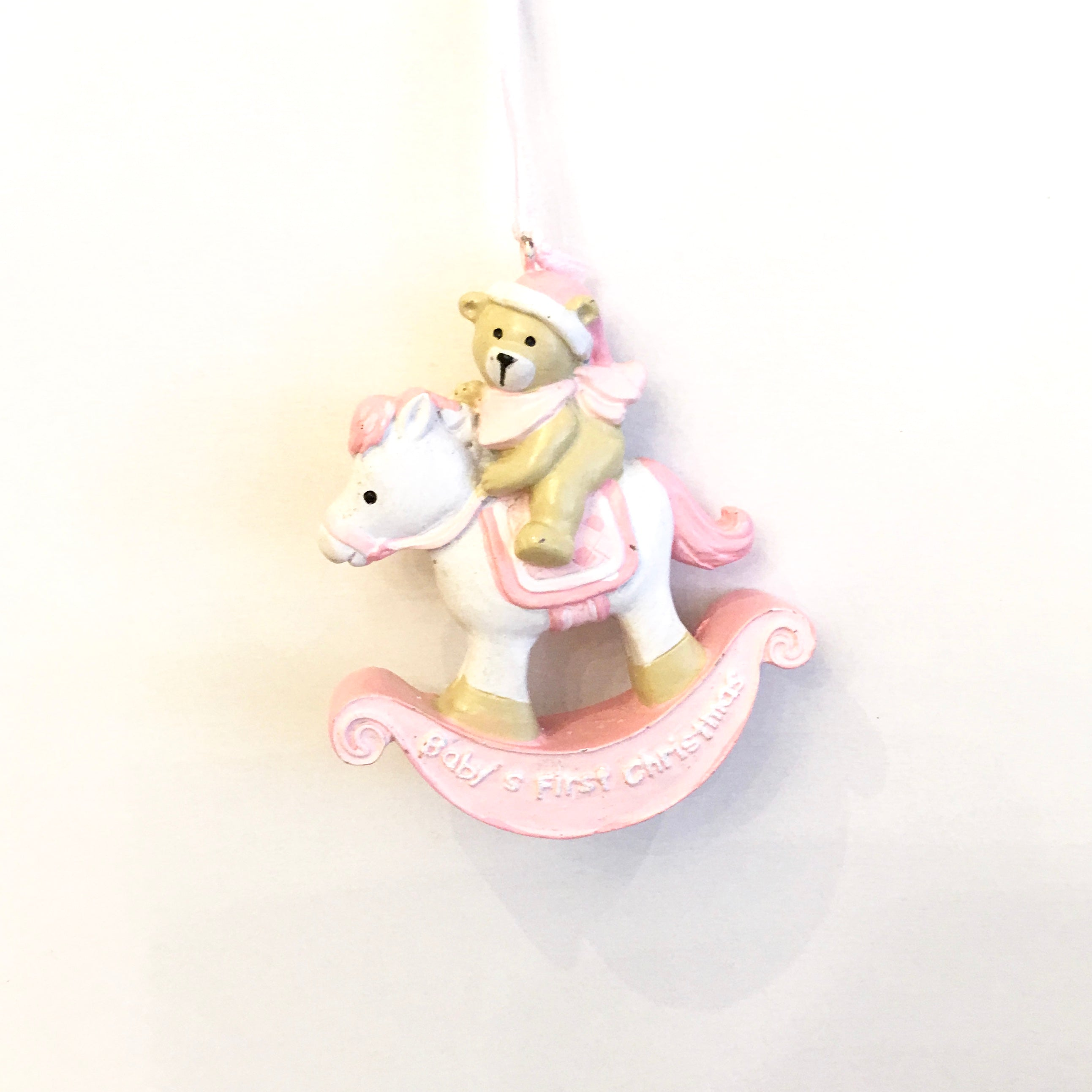 Baby S First Christmas Rocking Horse Ornament Pink Putti Canada Putti Fine Furnishings