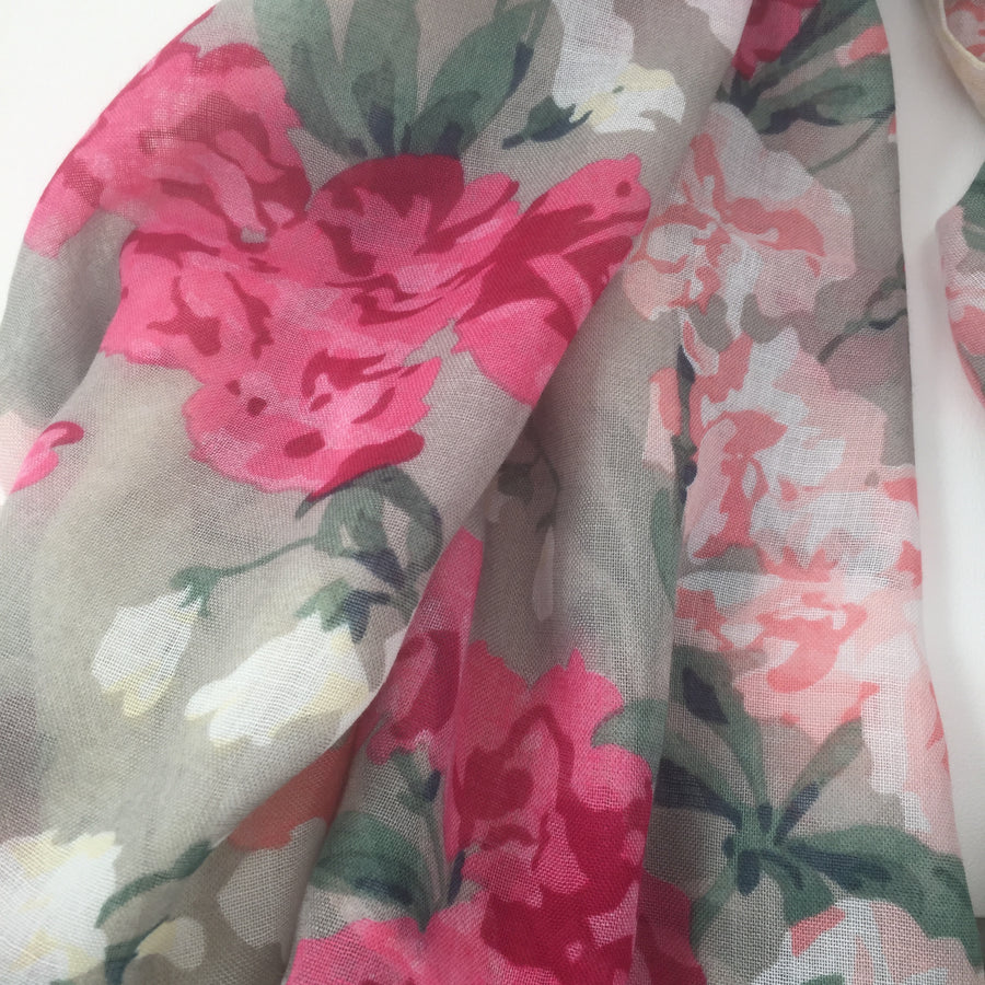 "Hazel & Pip ""Linda"" Grey Floral Scarf with Tassels, F&J-F & J Collection, Putti Fine Furnishings"