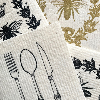 Wet it! Vintage Cutlery Swedish Cloth | Putti Fine Furnishings Canada