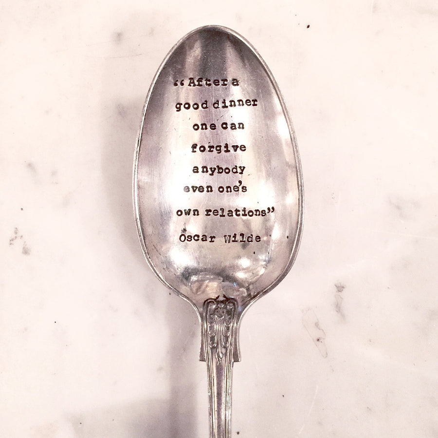 """After a good dinner one can forgive anyone...."" Vintage Serving Spoon"