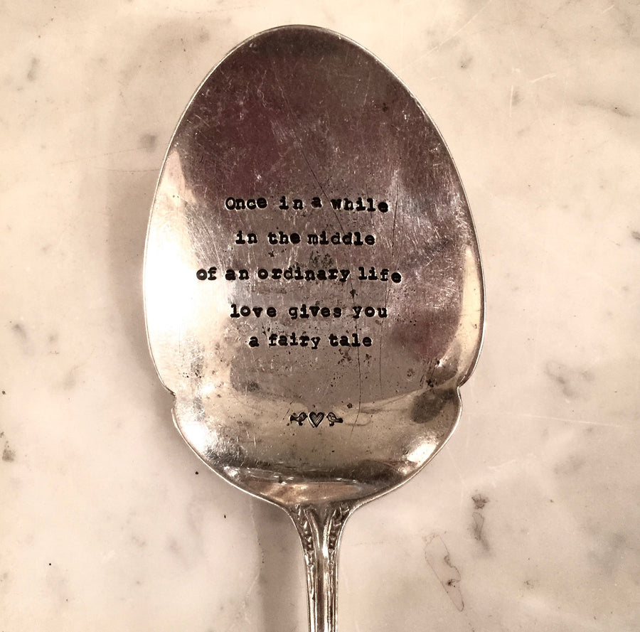 """i carry your heart with me...i carry it in my heart"" ee cummings - Vintage Serving Spoon"