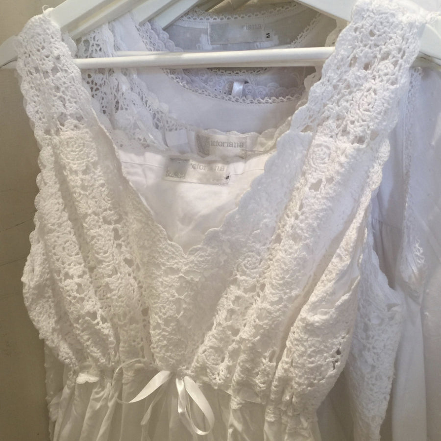 "Victoriana ""Teresa"" White Crochet Nightgown"