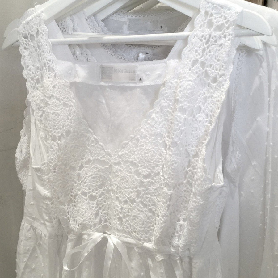 "Victoriana ""Evelyn"" White Crochet Nightgown"