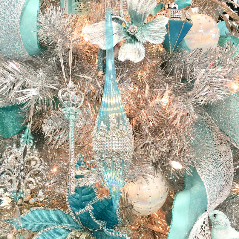 Kurt Adler Tiffany Blue Blown Glass Finial Ornaments | Putti Christmas