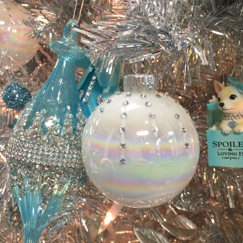 Kurt Adler Pearl White Glass Ornaments | Putti Christmas