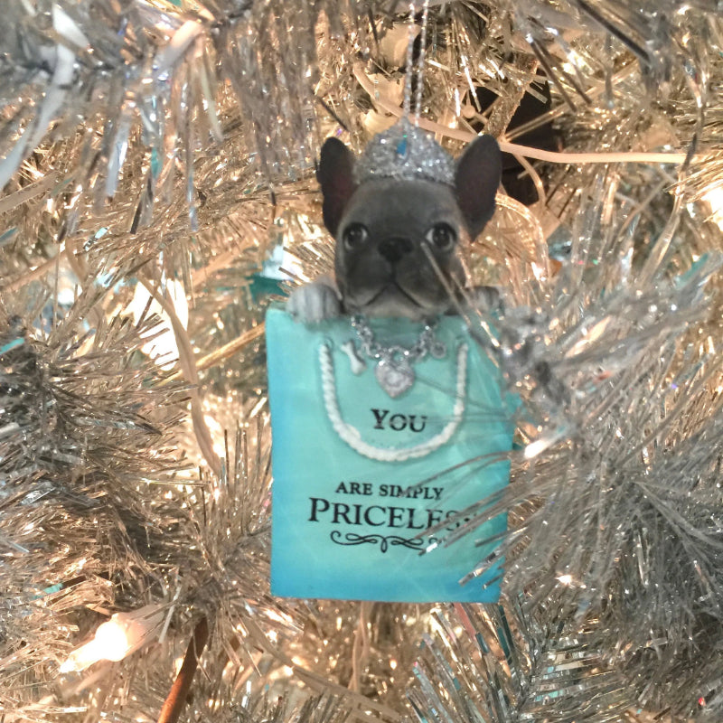 "Kurt Adler Tiffany Blue ""You are Simply Priceless"" French Boxer Dog Ornament  
