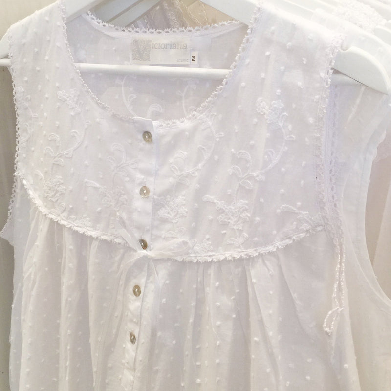 "Victoriana ""Ashley"" Embroidered Bodice Button Front White Sleeveless Nightgown"