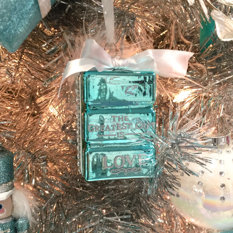 Kurt Adler Tiffany Blue Gift Box Ornament with Sentiment and Bow | Putti