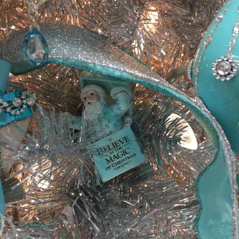 Kurt Adler Tiffany Blue and Silver Santa in Present Ornament | Putti Christmas