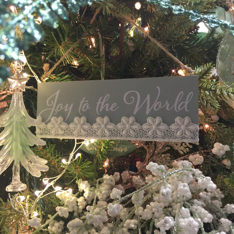 Kurt Adler Sage Green Sign with Lace and Sayings Ornaments | Putti