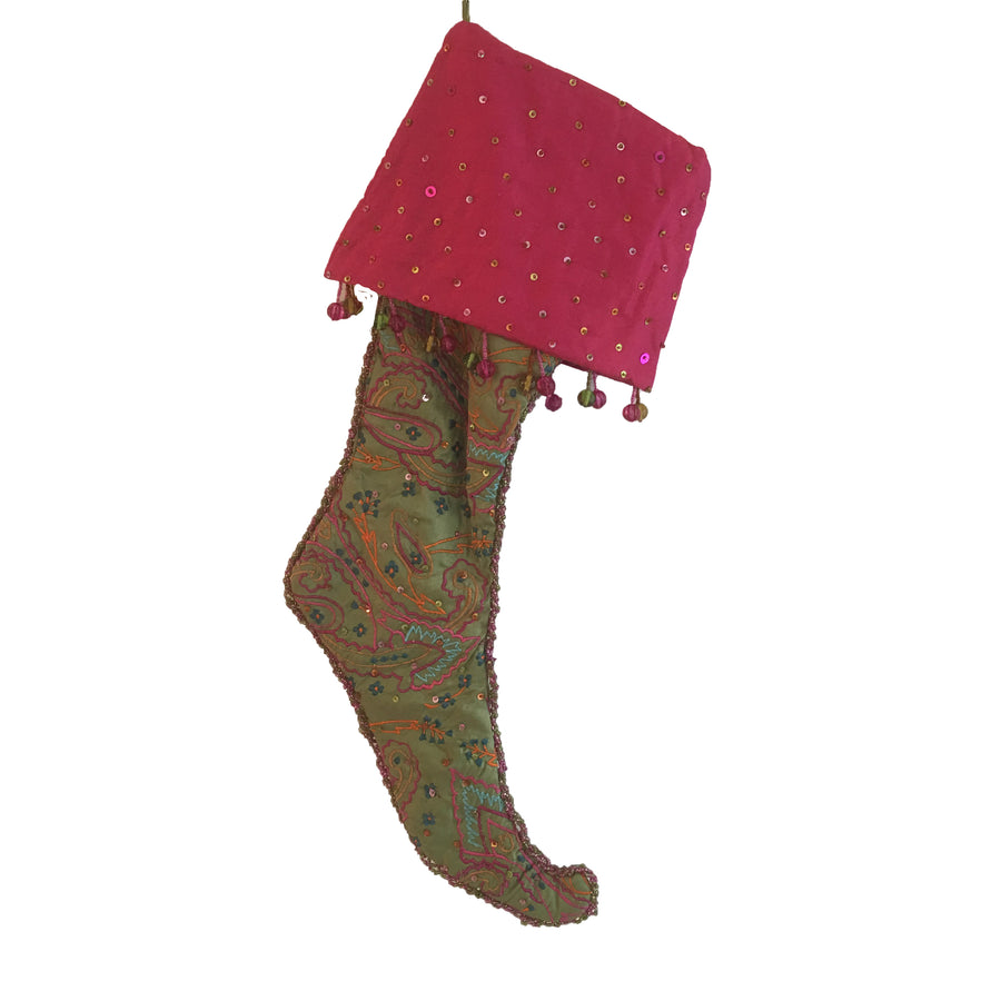 Green Paisley Embroidered  Stocking