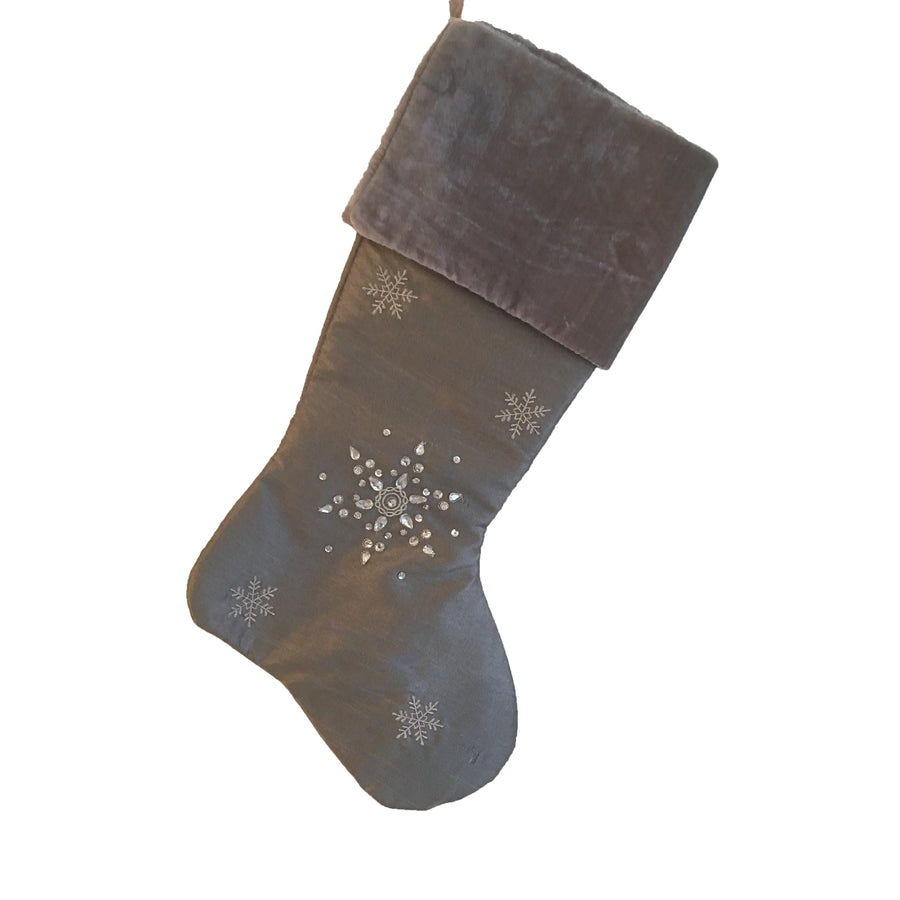 Silver Jewelled Snowflake Stocking