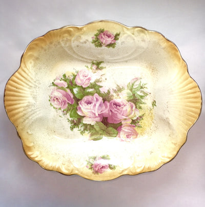 Vintage Rectangular Floral Serving Bowl, Antique English, Putti Fine Furnishings