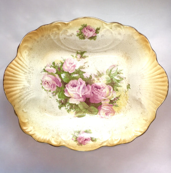 Vintage Rectangular Floral Serving Bowl-Antiques-Antique English-Putti Fine Furnishings