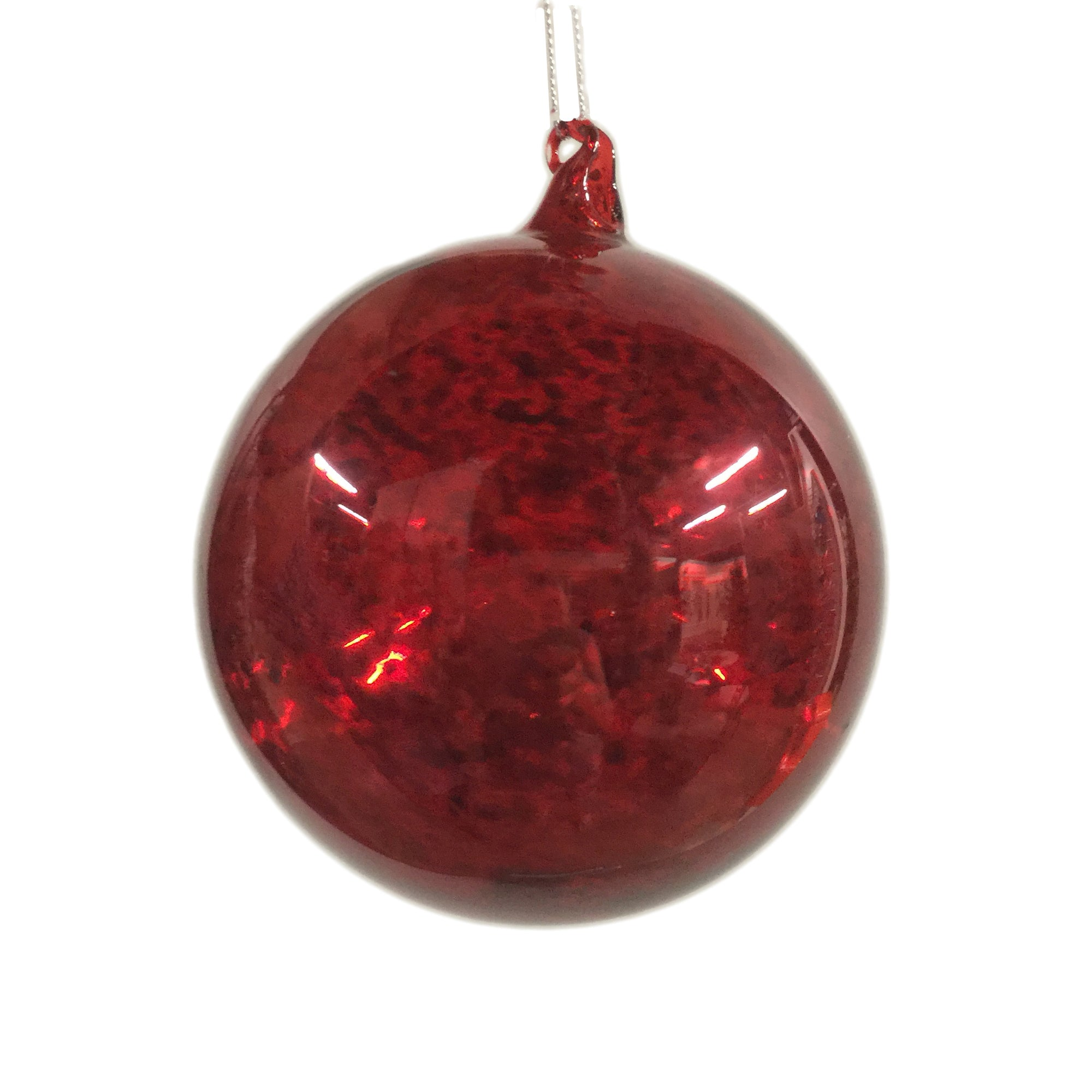 Jim Marvin Mercury Glass Ball Ornament - Red