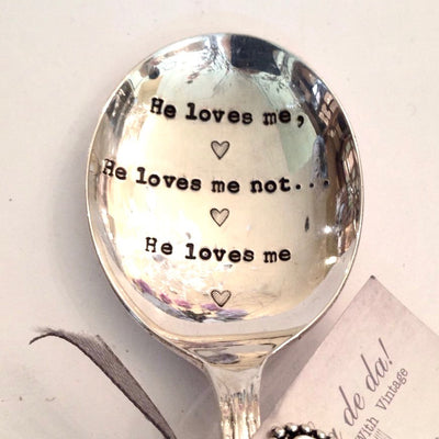 """He loves me ...he loves me not ...he loves me"" Vintage Desert/Cereal Spoon -  Flatware - La De Da Living - Putti Fine Furnishings Toronto Canada - 2"