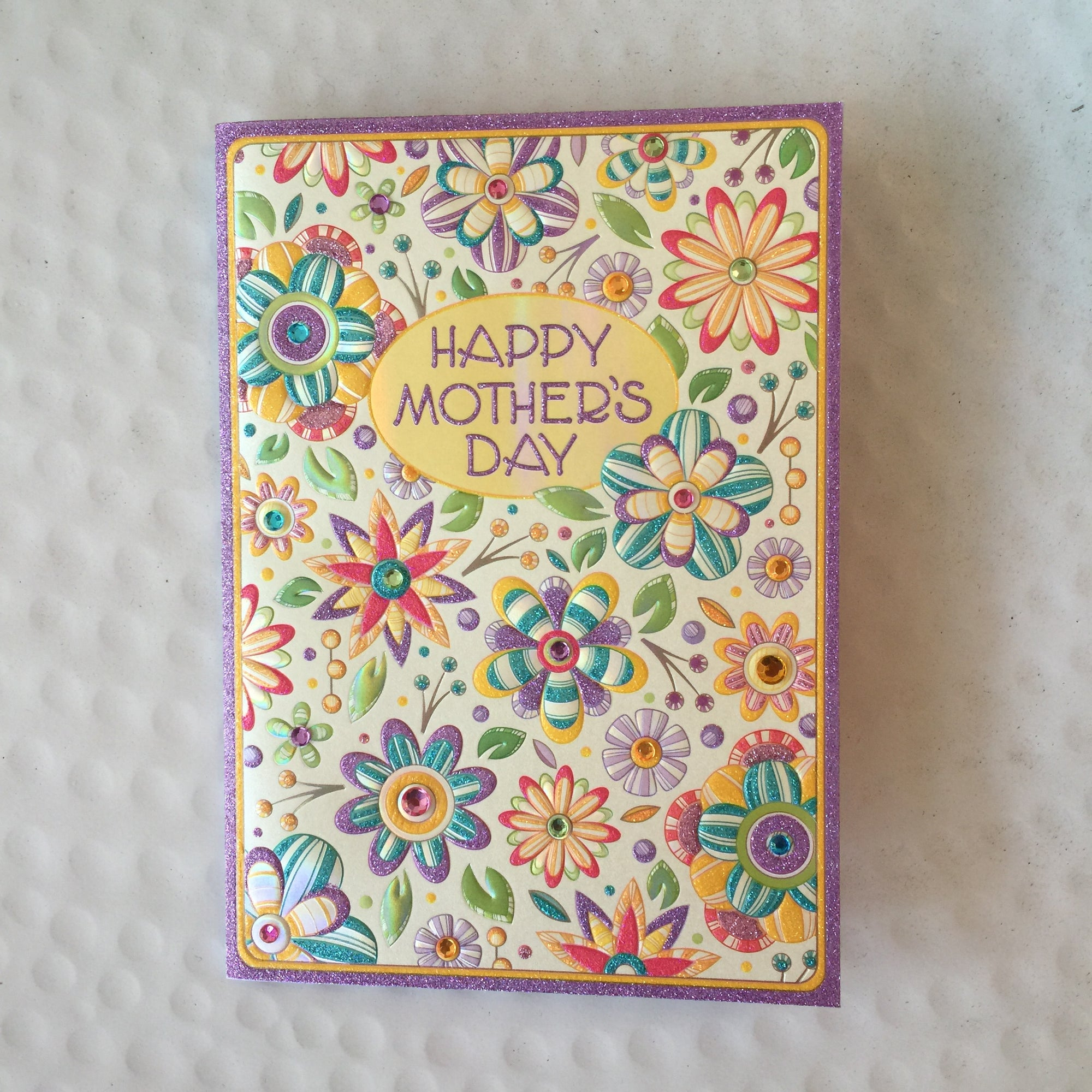 """Happy Mother's Day"" Jewelled Flowers Greeting Card"