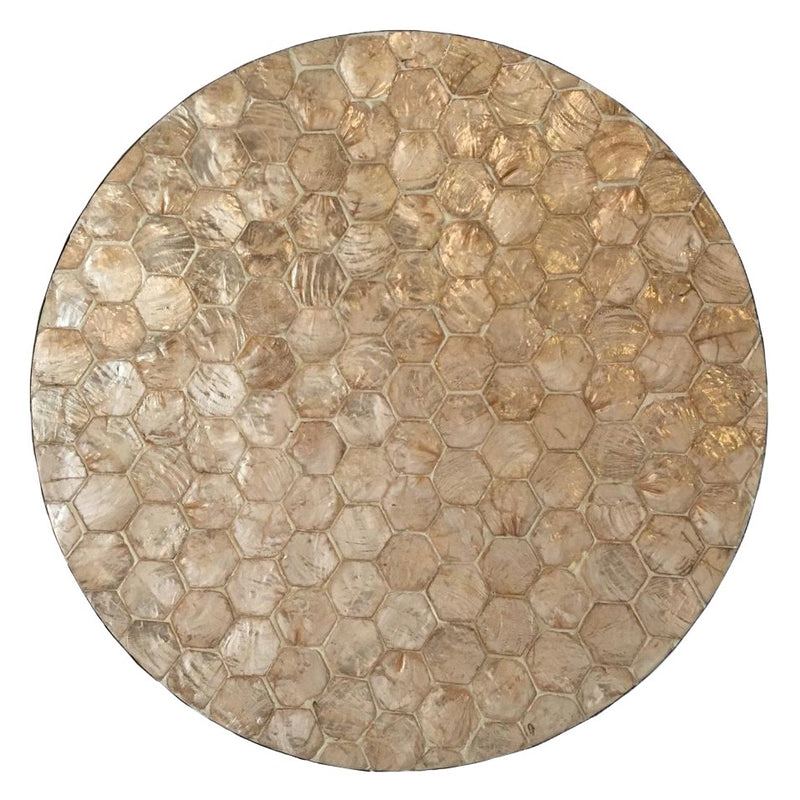 Golden Hexagonal Capiz Round Trays