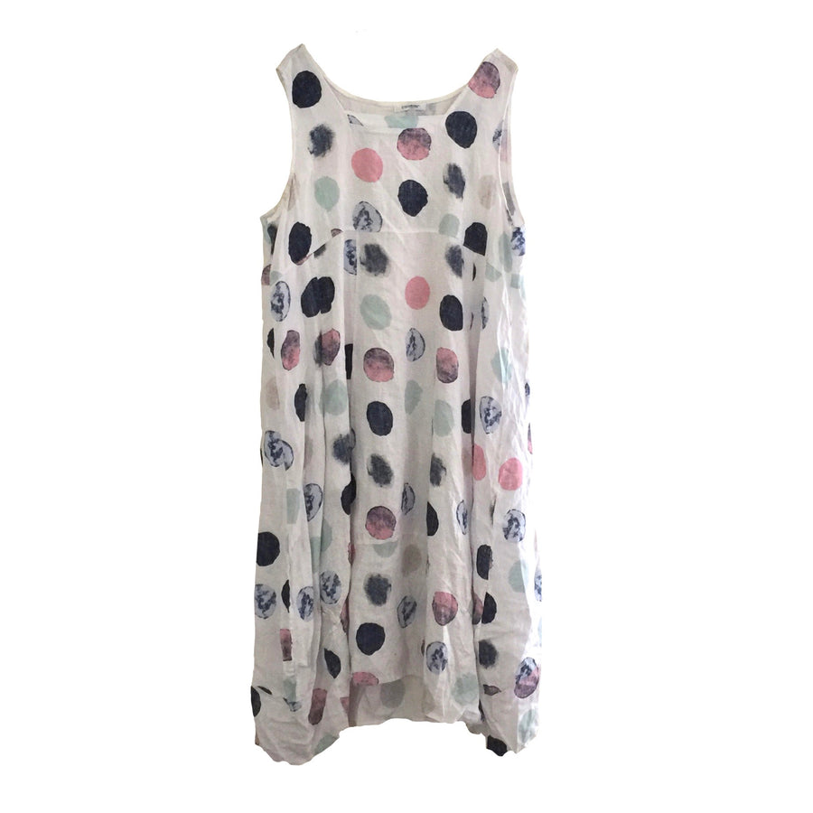 Sleeveless Large Spot Linen Dress - White
