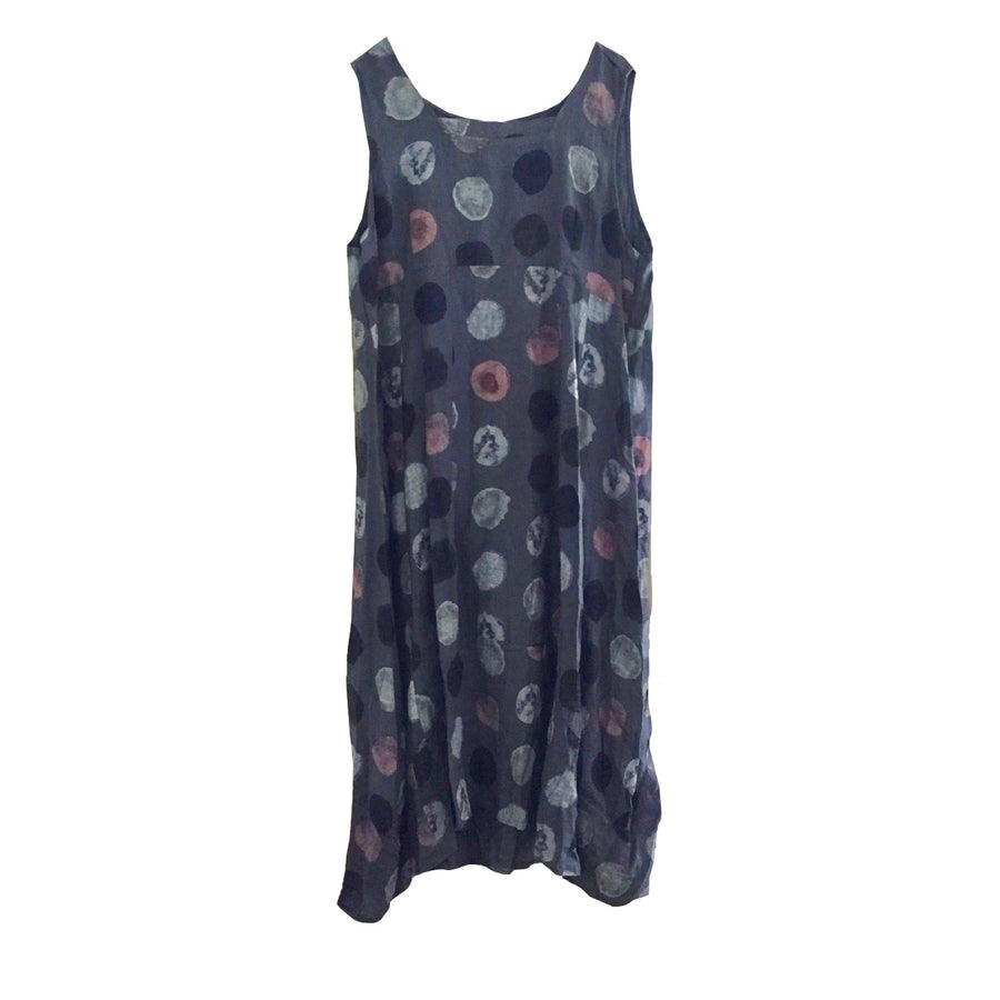 Sleeveless Large Spot Linen Dress - Denim Blue