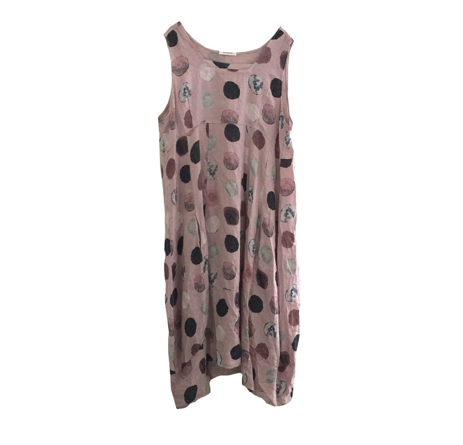 Sleeveless Large Spot Linen Dress - Blush Pink