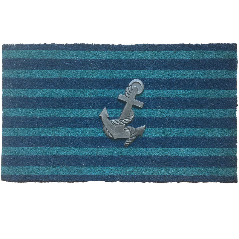Blue Stripe Anchor Doormat | Putti Fine Furnishings Toronto Canada