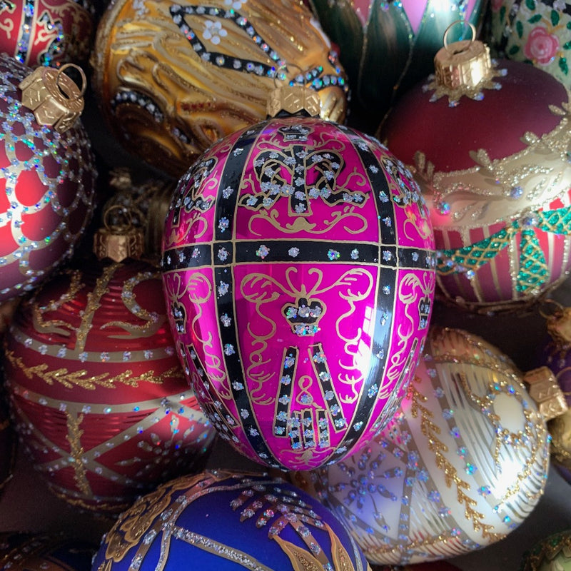 Hot Pink with Gold Filigree European Glass Egg Ornament