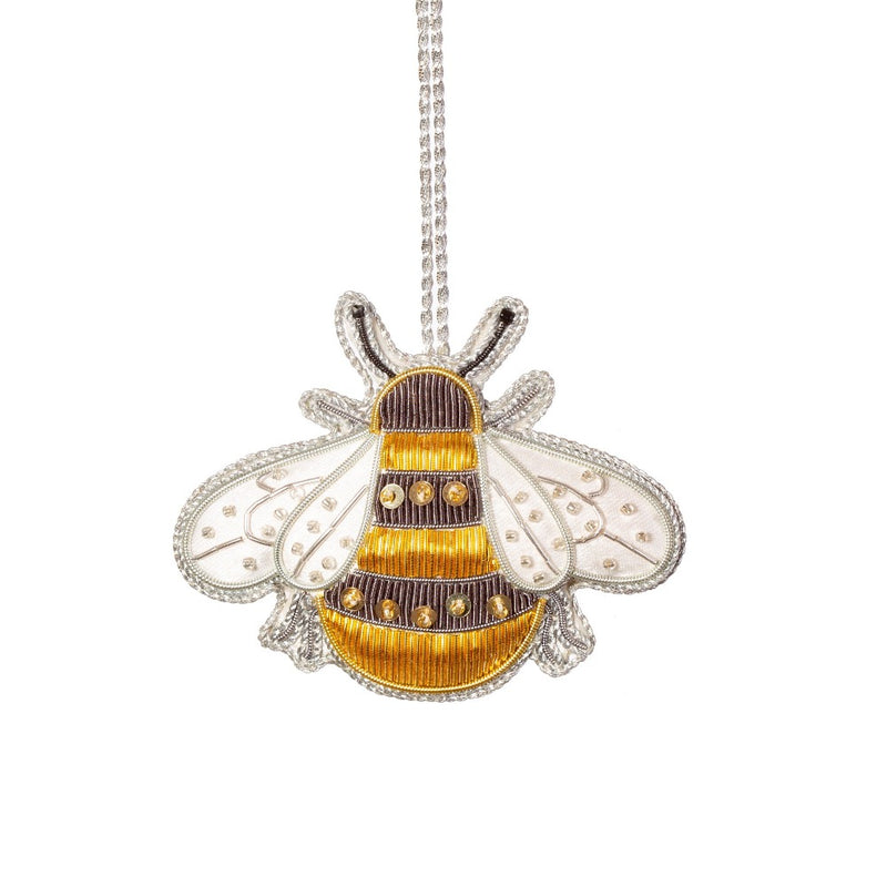 Zari Bee Embroidery Ornament | Putti Christmas Canada