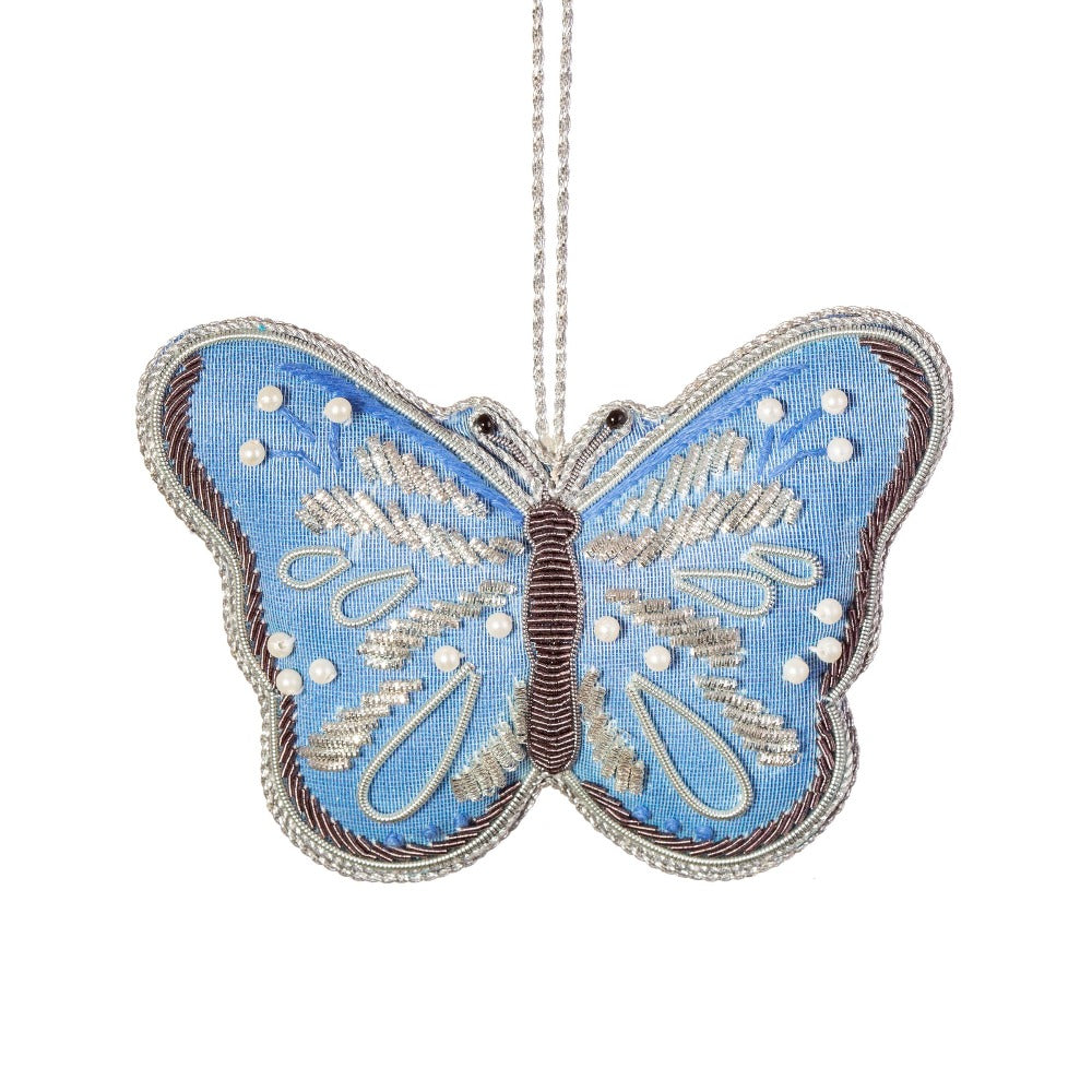 Blue Butterfly Zari Embroidery Ornament