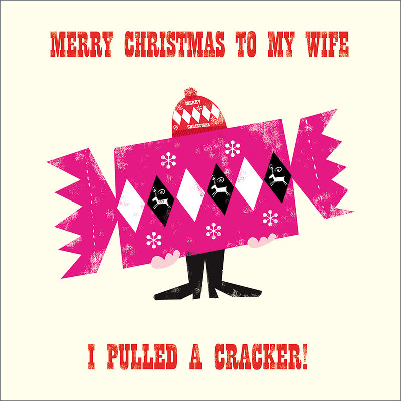 """Merry Christmas to my Wife"" Cracker Greeting Card"