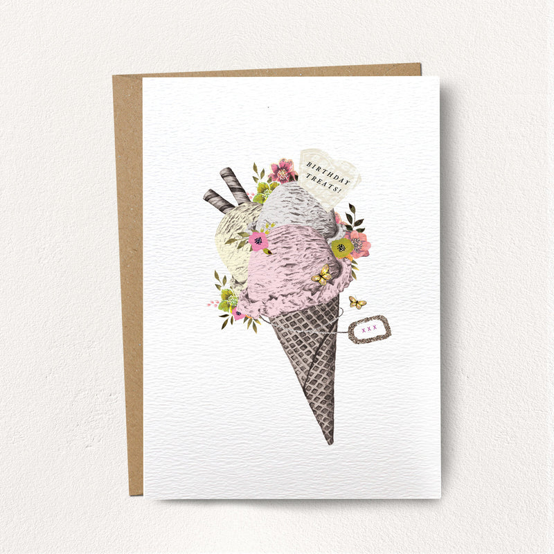 "Stephanie Davies ""Birthday Treats"" Ice Cream Greeting Card 