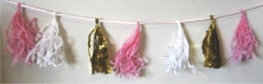 Decorative Tassel Garland - Pastel Pink Foil