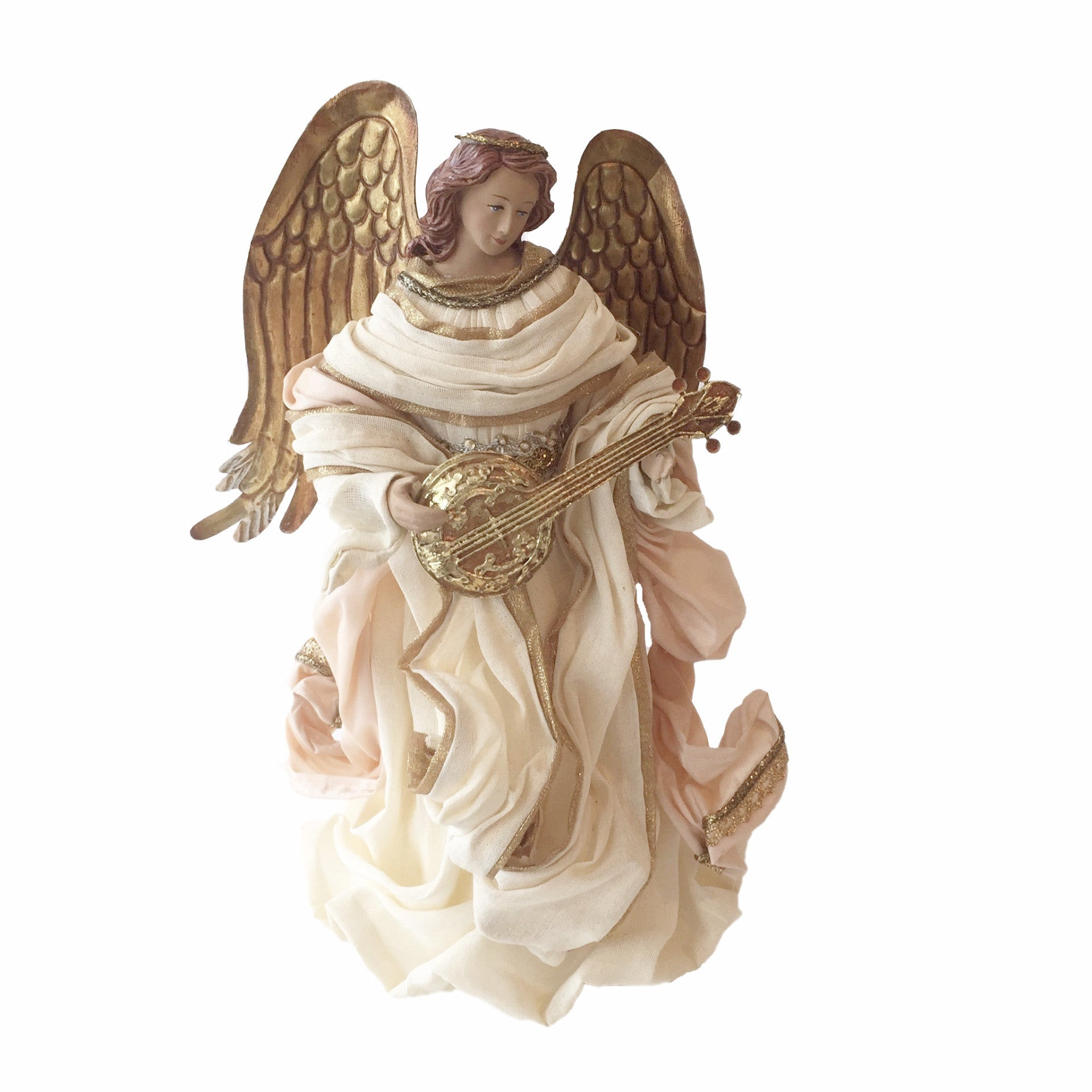 Angel with White Gown and Gold Mandolin Christmas Tree Topper-  Christmas Decorations -Putti Fine Furnishings Toronto Canada
