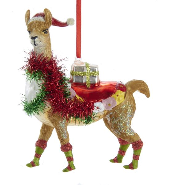 Kurt Adler Christmas Llama Glass Resin Ornament