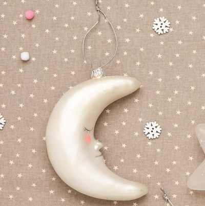 Sweet Dreams Shinning Moon Glass Ornament | Putti Christmas Decorations