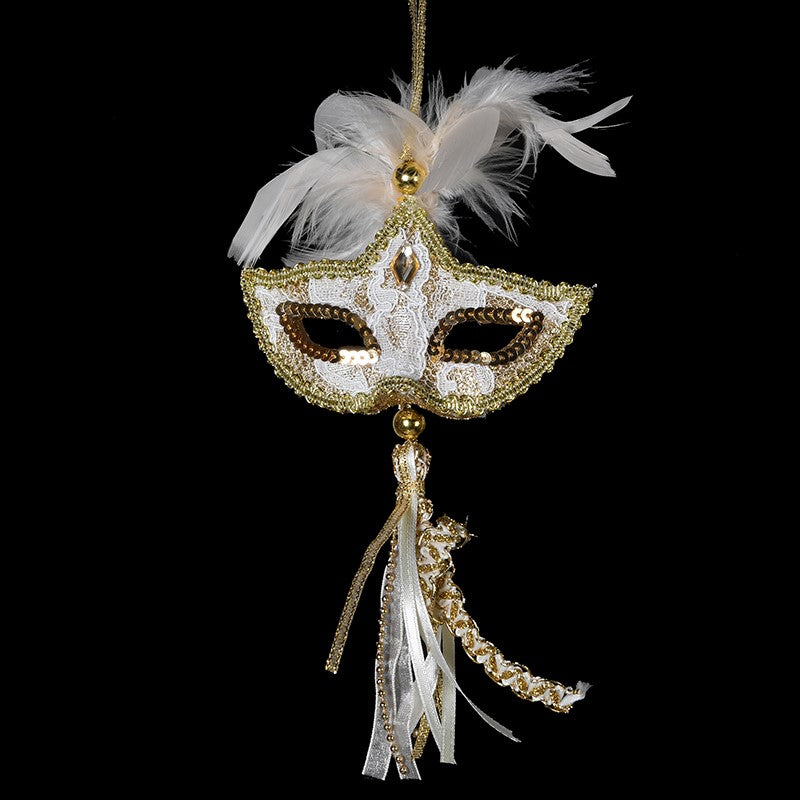 Gold Mask with Tassel Ornament - Putti Christmas Canada