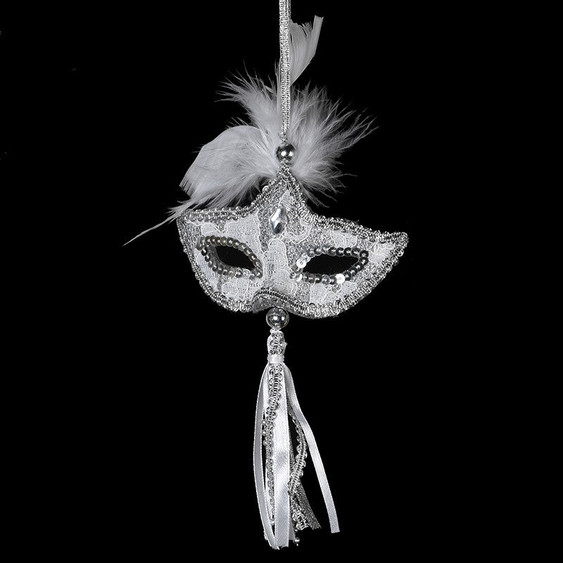 Silver Mask with Tassel Ornament - Putti Christmas Canada
