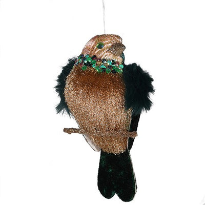 Teal Green Brocade Fur Wing Clip on Bird - Putti Christmas Canada