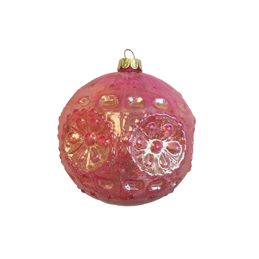 "Jim Marvin ""Iridescent Reflector"" Glass Ball Ornament - Pink"